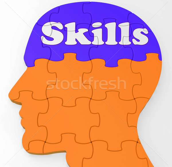 Skills Brain Shows Abilities Competence And Training Stock photo © stuartmiles