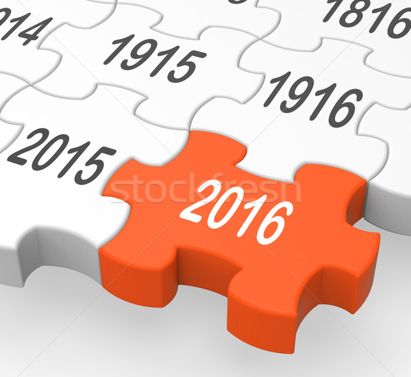 2016 Puzzle Piece Shows Expected Objectives Stock photo © stuartmiles