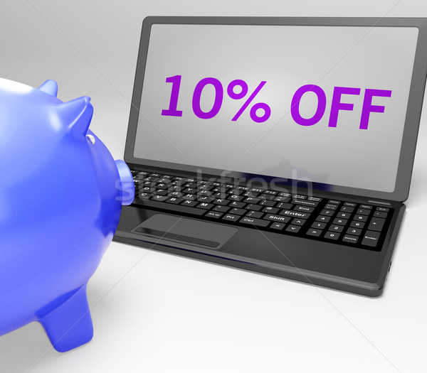 Stock photo: Ten Percent Off On Notebook Shows Offers