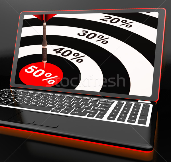 Stock photo: 50Percent On Laptop Showing Big Promotions