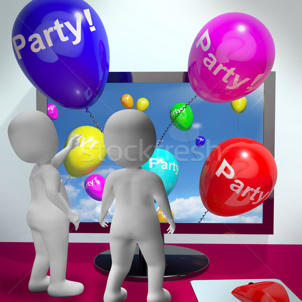 Balloons With Party Text Showing Invitations Sent Online Stock photo © stuartmiles
