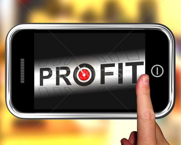 Profit On Smartphone Shows Aimed Progress Stock photo © stuartmiles