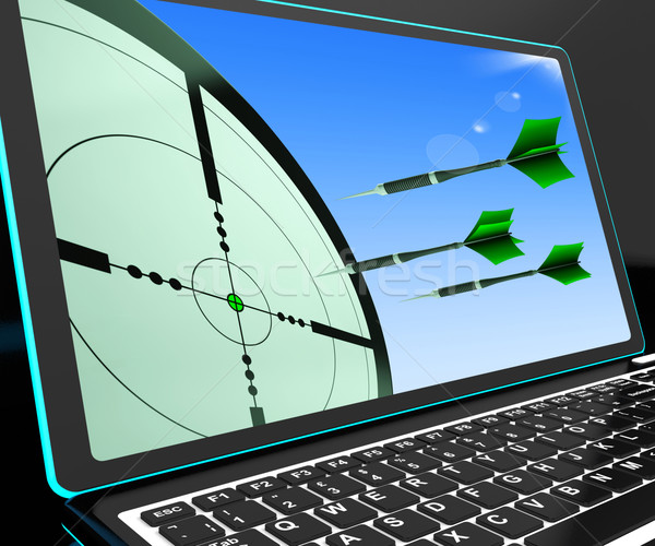 Arrows Aiming On Laptop Shows Perfect Strategies Stock photo © stuartmiles