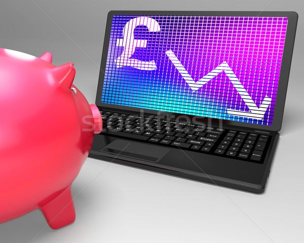 Pound Symbol On Laptop Shows Britain Finances Stock photo © stuartmiles