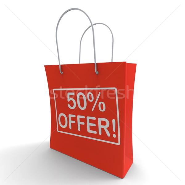 ötven százalék el kiárusítás megtakarított pénz árengedmény Stock fotó © stuartmiles