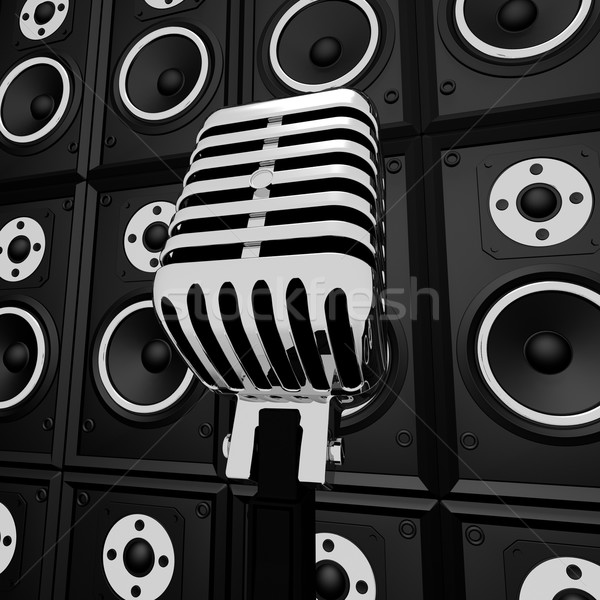 Microphone And Loud Speakers Shows Music Industry Concert Or Ent Stock photo © stuartmiles