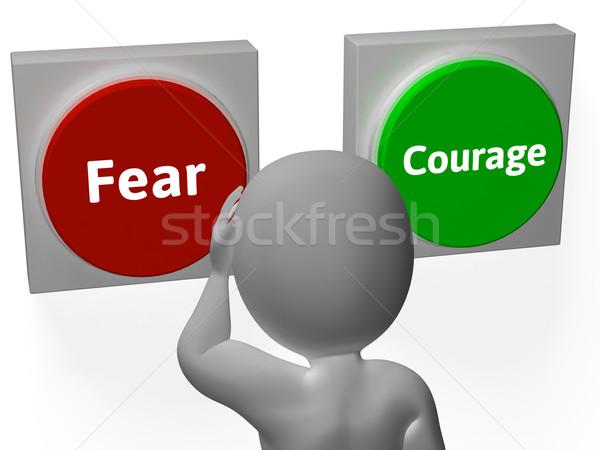 Peur courage boutons montrent effrayant Photo stock © stuartmiles