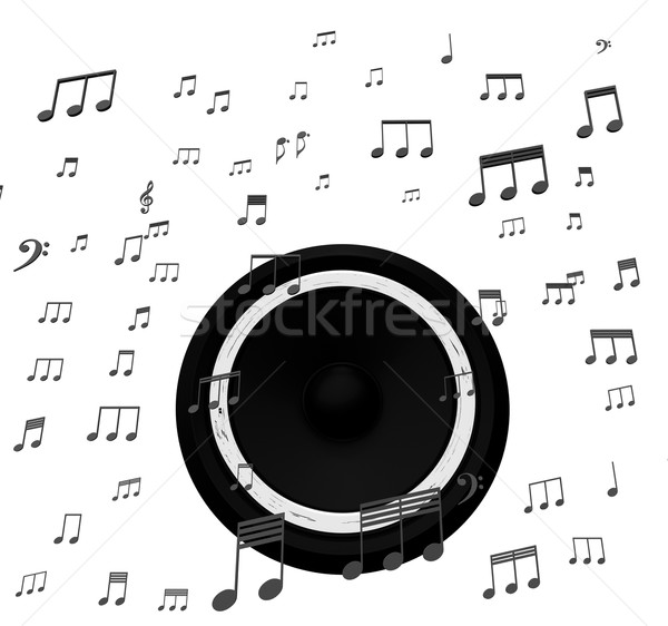 Speaker And Music Notes Shows Soundtrack Disco Or Concert Stock photo © stuartmiles