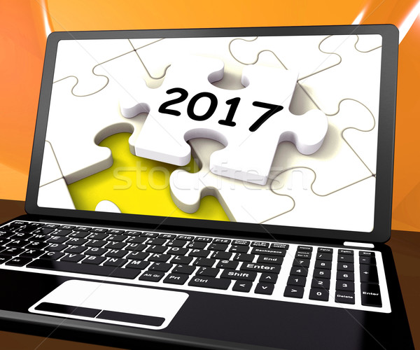 Two Thousand And Seventeen On Laptop Shows New Years Resolution  Stock photo © stuartmiles