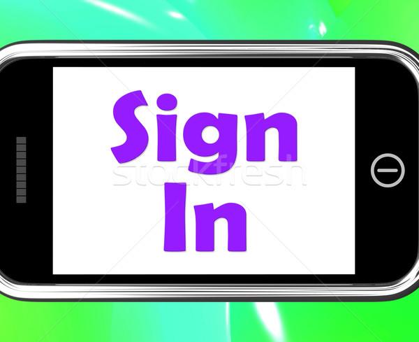 Signe téléphone ligne web mobiles Photo stock © stuartmiles