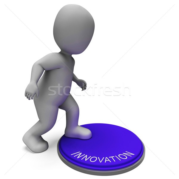 Innovatie knop schepping ontwikkeling uitvinding betekenis Stockfoto © stuartmiles