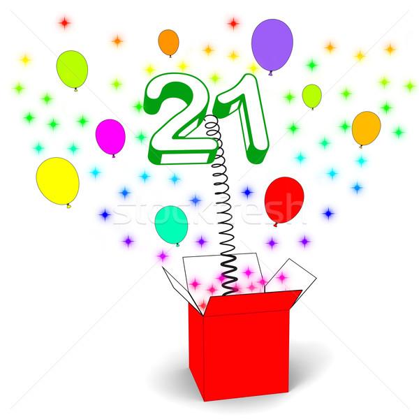 Número vinte um surpresa caixa aniversário Foto stock © stuartmiles