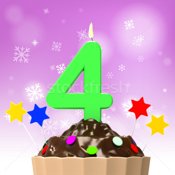 Four Candle On Cupcake Shows Colourful Sprinkles And Desserts Stock photo © stuartmiles