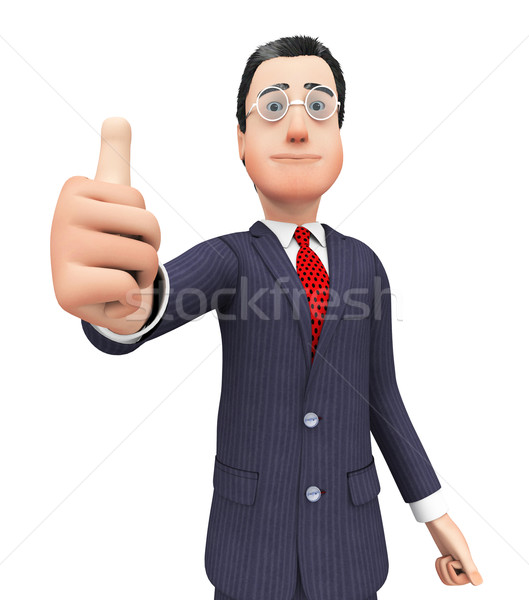 Businessman Shows Approval Represents Thumbs Up And Agreement Stock photo © stuartmiles