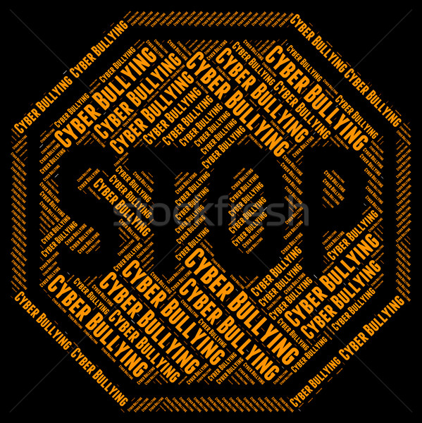 Stop Cyber Bullying Means World Wide Web And Caution Stock photo © stuartmiles
