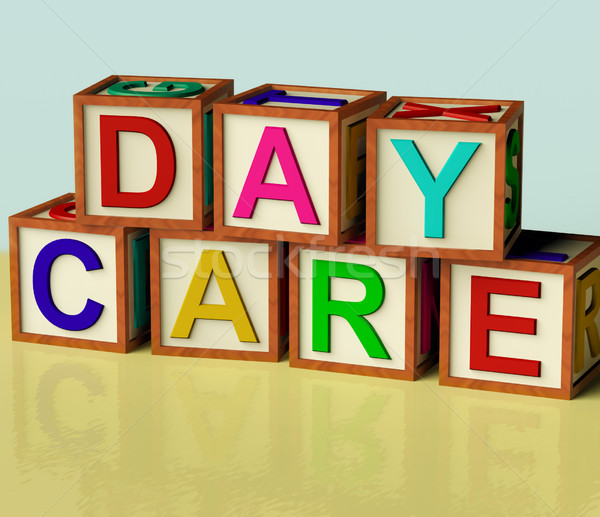 Kids Blocks Spelling Day Care As Symbol for Preschool and Kinder Stock photo © stuartmiles