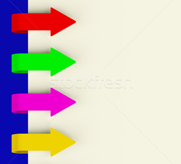 Four Multicolored Arrow Tabs Over Paper For Menu List Or Notes Stock photo © stuartmiles