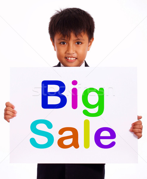 Big Sale Sign Shows Kid Showing Promotions Stock photo © stuartmiles
