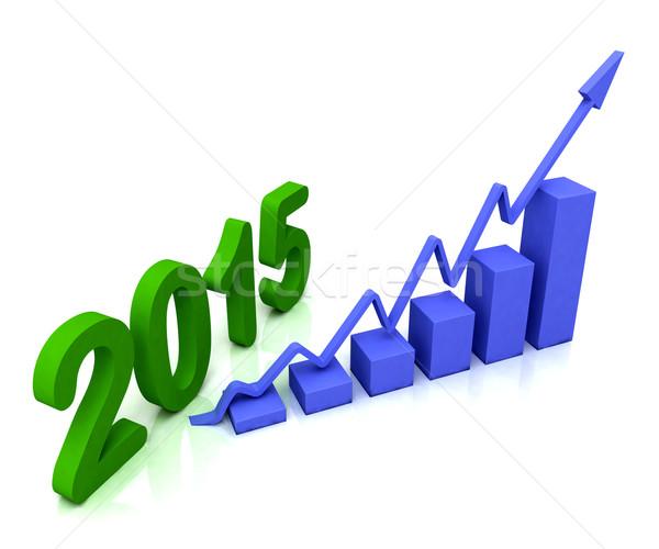 2015 Blauw staafdiagram budget tonen succes Stockfoto © stuartmiles