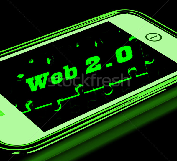 Web 20 smartphone sociale réseau Photo stock © stuartmiles
