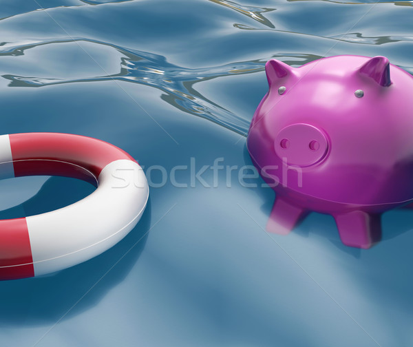 Piggy With Lifebuoy Shows Investing In Lifesaver Stock photo © stuartmiles