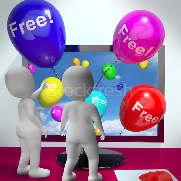 Stock photo: Balloons With Free Showing Freebies and Promotions Online