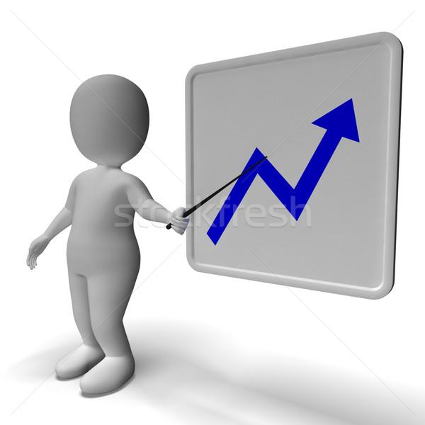Profit Graph And 3d Character Shows Market Gains Stock photo © stuartmiles