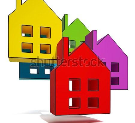 дома вниз стрелка собственности рецессия Сток-фото © stuartmiles