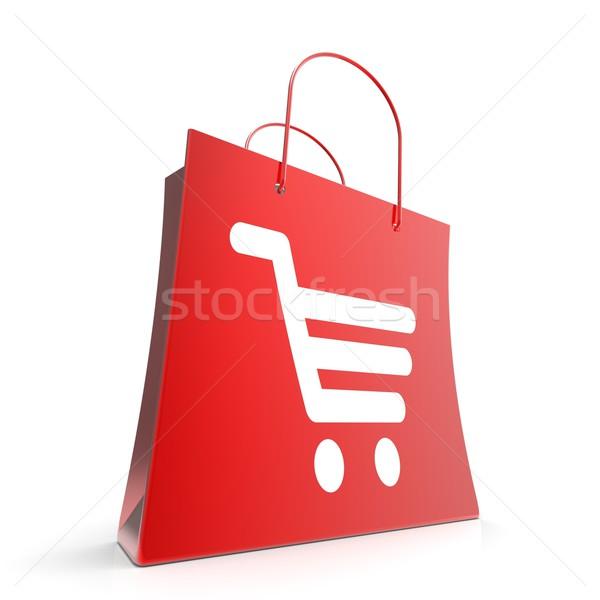 Bevásárlókocsi táska kosár pénztár kiskereskedelem Stock fotó © stuartmiles