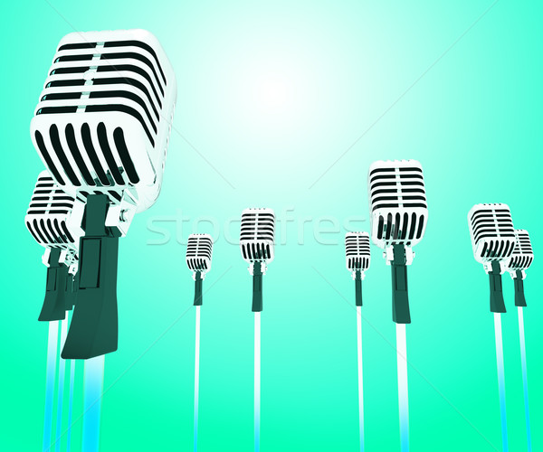 Microphones Micl Shows Music Groups Band Or Singing Hits Stock photo © stuartmiles