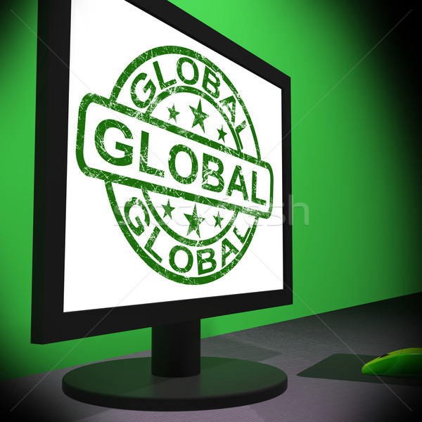 Stockfoto: Globale · monitor · wereldwijd · internationale · globalisering · tonen