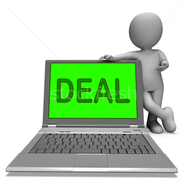 Deal Laptop Shows Bargain Contract Or Dealing Online Stock photo © stuartmiles