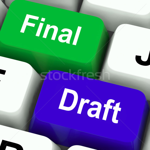 Final Draft Keys Show Editing And Rewriting Document Stock photo © stuartmiles