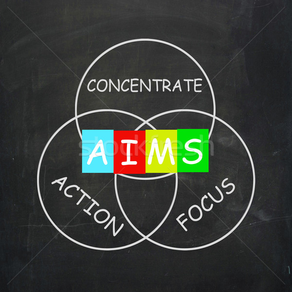 Strategy Words Include Aims Focus Concentrate and Action Stock photo © stuartmiles