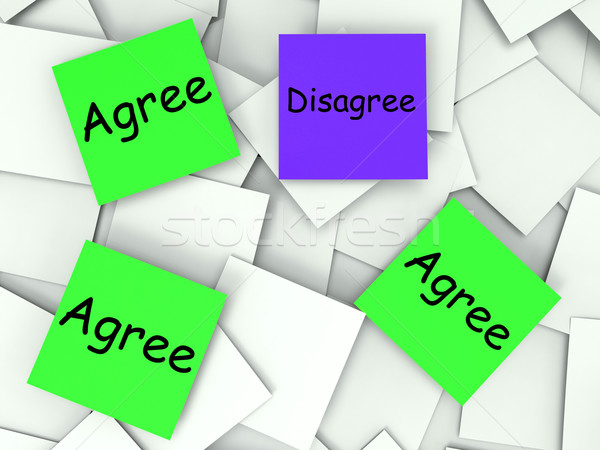 Agree Disagree Post-It Notes Mean Agreeing Or Opposing Stock photo © stuartmiles