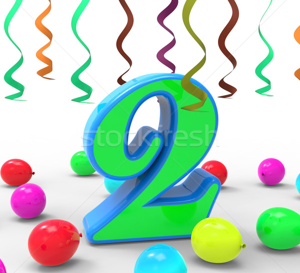 Number Two Party Means Colourful Garlands Or Bright Balloons Stock photo © stuartmiles