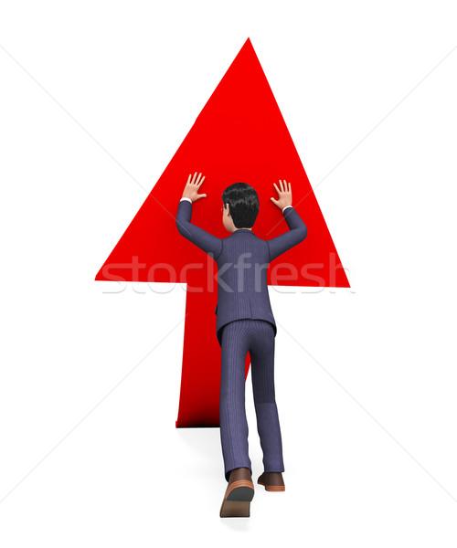 Businessman Pushing Arrow-Up Means Biz Hold And Pushed Stock photo © stuartmiles