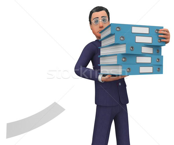 Businessman With Files Shows Answer Businessmen And Corporation Stock photo © stuartmiles