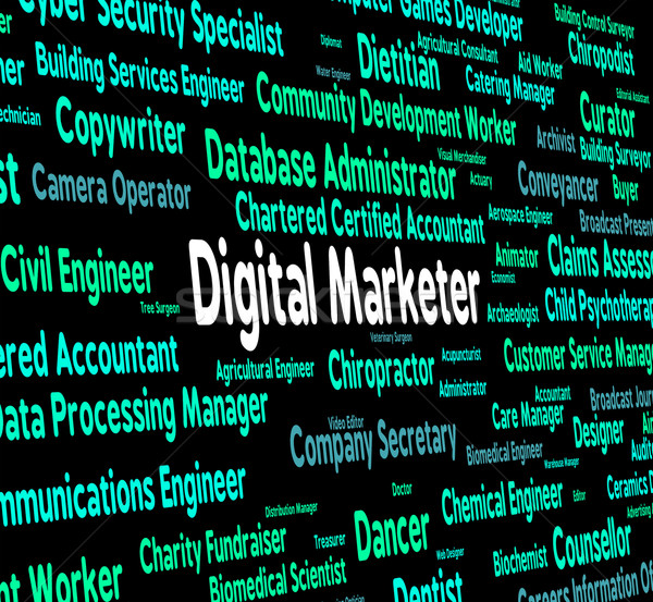 Digital Marketer Shows Word Recruitment And Salesman Stock photo © stuartmiles