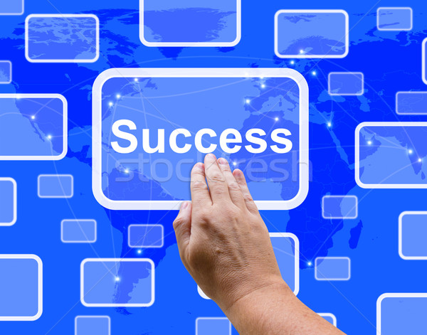 Success Button Being Pressed By A Hand Shows Achievement And Det Stock photo © stuartmiles