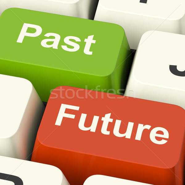 Past And Future Keys Showing Evolution Aging Or Progress Stock photo © stuartmiles