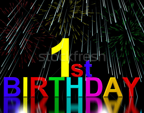 First Or 1st Birthday Celebrated With Fireworks Stock photo © stuartmiles