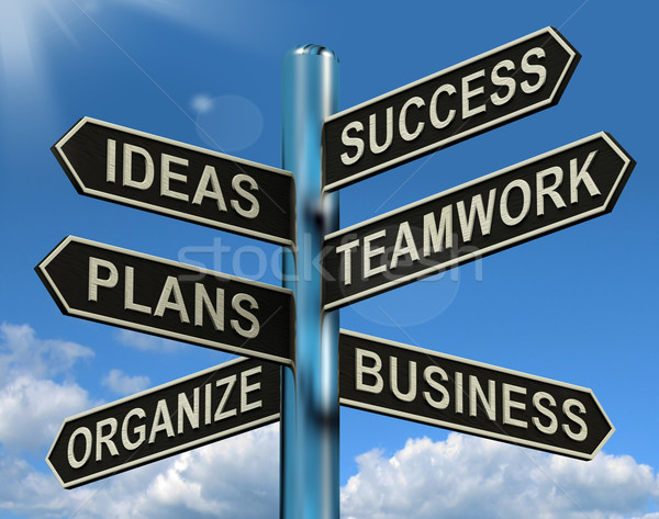 Success Ideas Teamwork Plans Signpost Showing Business Plans And Stock photo © stuartmiles