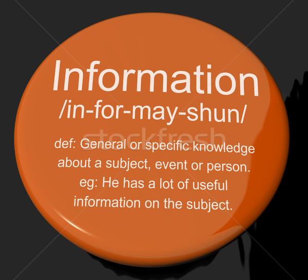 Informação definição botão conhecimento dados Foto stock © stuartmiles