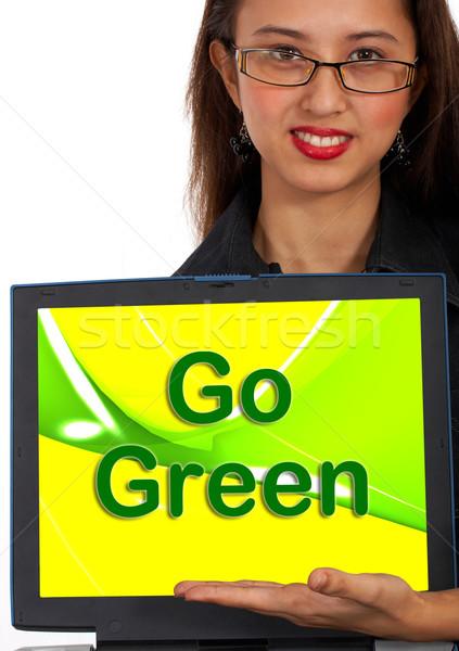 Zöld számítógép üzenet szimbólum környezetbarát újrahasznosítás Stock fotó © stuartmiles