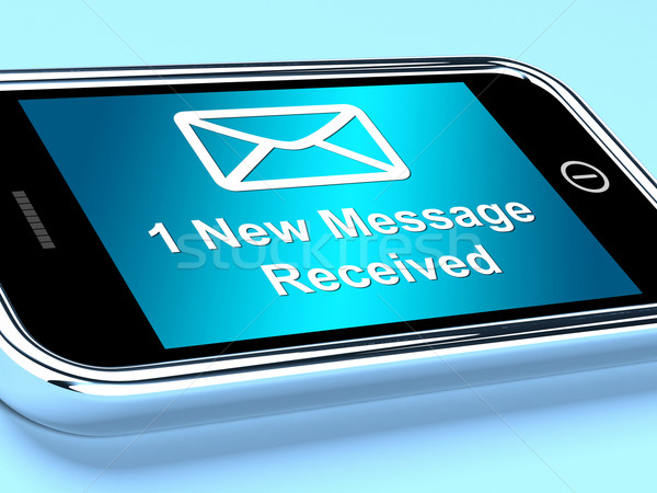 Stock photo: Email Envelope On Mobile Shows One Message Received