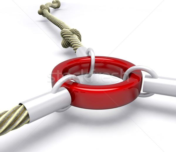 Piros láncszem csatolva kapcsolat mutat biztonság Stock fotó © stuartmiles