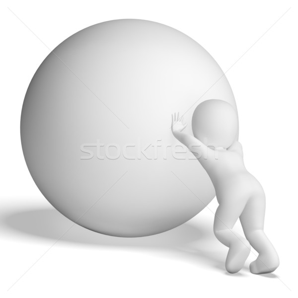 Struggling Uphill Man With Ball Showing Determination Stock photo © stuartmiles