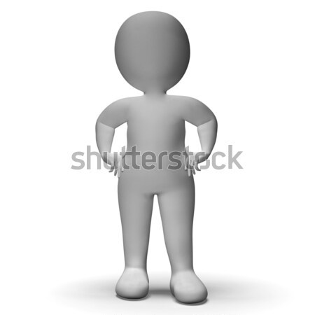 Hands On Hips 3d Man Showing Confidence Stock photo © stuartmiles