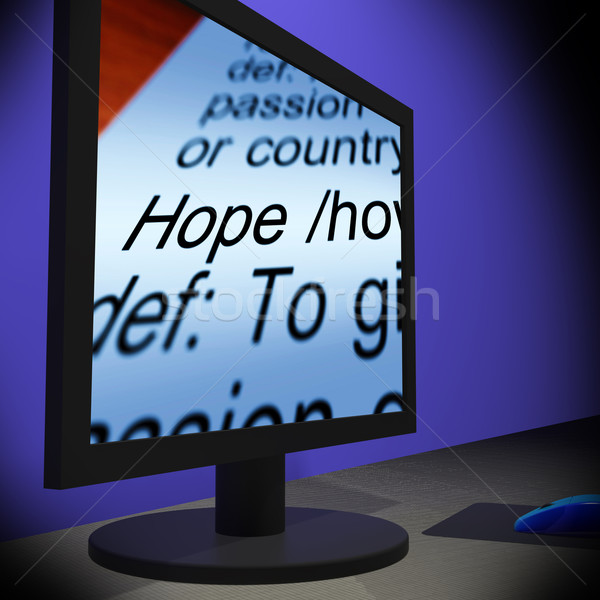 Stock photo: Hope On Monitor Showing Wishes